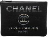 One Kings Lane Vintage Chanel Medium Black Striped Clutch - Vintage Lux