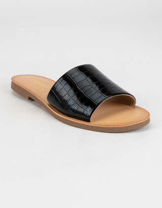 Soda Sunglasses Single Strap Womens Black Crocodile Slide Sandals