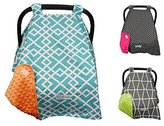 New Year Sale - 13 DESIGNS - CRAZZIE Carseat Canopy Cover (Canopy Cool Weather Ice Teal/Orange)