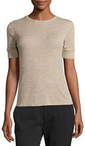 Vince Wool Short-Sleeve Crewneck Sweater