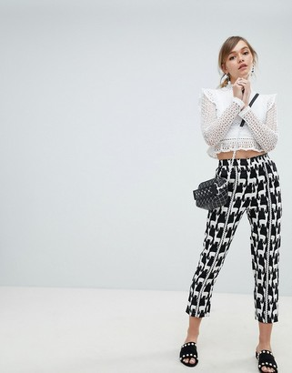 Sister Jane Cigarette Pants With Front Stripe In All Over Llama Print