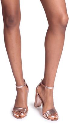 Linzi Nelly Rose Gold Metallic Single Sole Block Heels