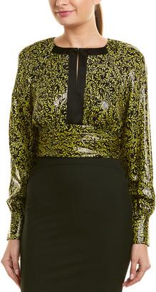 Diane von Furstenberg Keyhole Silk-Blend Top