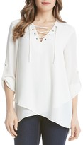 Karen Kane Lace-Up Wrap Hem Top