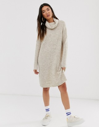 Only brushed knitted longline roll neck mini dress-Beige