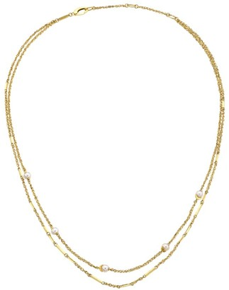 Celara 14K Yellow Gold & 4MM Pearl Station Layered Necklace