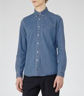 Reiss Garison - Washed Denim Shirt in Blue, Mens