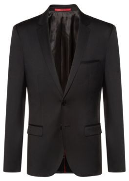 HUGO Extra-slim-fit virgin-wool jacket with piping details