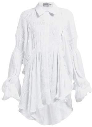 Preen by Thornton Bregazzi Rafe Smocked Asymmetric Blouse - Womens - White