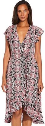 Adrianna Papell Snakeskin Print Wrap Dress