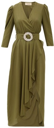 Adriana Degreas Belted Waterfall-hem Dress - Womens - Green