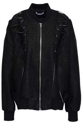 IRO Lace-up Metallic Boucle-tweed Bomber Jacket