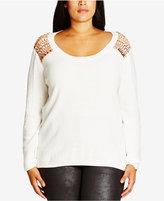 City Chic Trendy Plus Size Beaded Sweater