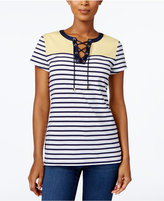 Charter Club Colorblocked Lace-Up Top, Only at Macy's