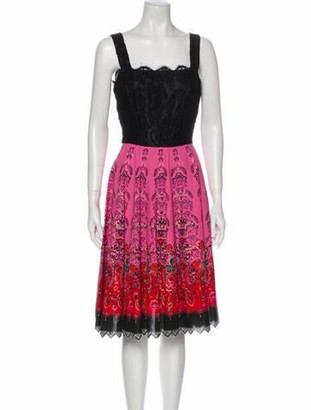 Anna Sui Lace Pattern Midi Length Dress Black
