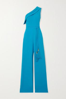 Reem Acra One-shoulder Faux Feather-trimmed Crepe Jumpsuit - Blue