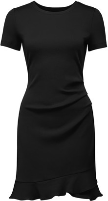 Forever New Annie Rib Short Sleeve Frill Dress - Black - 10