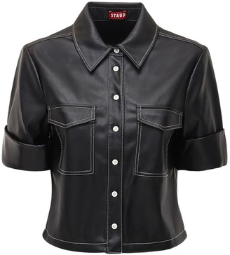 STAUD Rue Faux Leather Shirt
