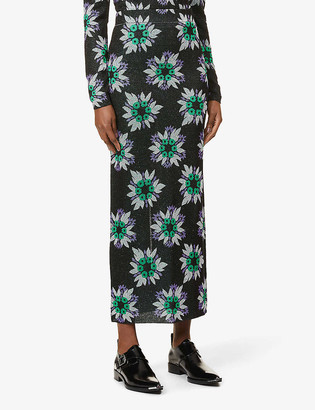 Paco Rabanne Floral-print high-waisted stretch-woven midi skirt