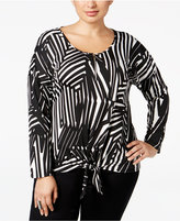 NY Collection Plus Size Abstract-Print Tie-Waist Top