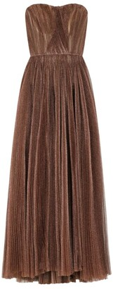 Dolce & Gabbana Metallic Pleated Maxi Dress
