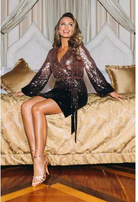 Quiz Sam Faiers Black and Gold Ombre Sequin Wrap Dress