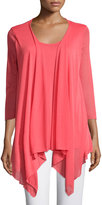 Joan Vass Draped-Front Relaxed Top, Coral Bloom