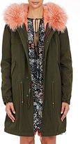 Mr and Mrs Italy Women's Canvas Fur-Trimmed Parka-GREEN, PINK, NO COLOR