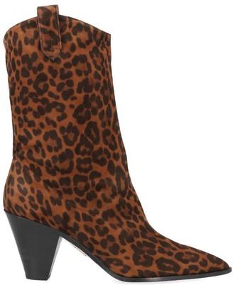 Aquazzura Boogie Cowboy Leopard Print Ankle Boots