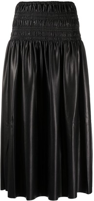 Self-Portrait Smocked-Waist Midi Skirt