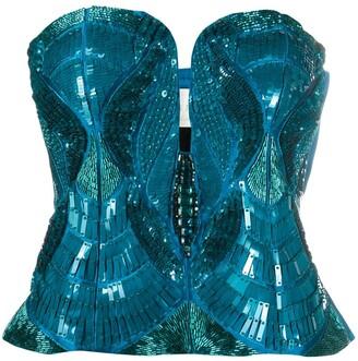 Alberta Ferretti Sequined Strapless Top
