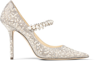 Jimmy Choo BAILY 100 Ballet Pink Suede Mary Jane Pumps with Crystal and Pearl Embellishment