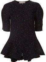 Stella McCartney speckled flared hem top - women - Polyamide/Viscose/Wool - 38