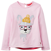 Joules LIttle Joule Girls' Dog Applique Top, Pink