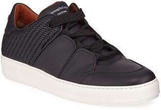 Ermenegildo Zegna Men's Tiziano Pelle Tessuta Woven Leather Low-Top Sneakers