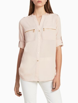 Calvin Klein Mandarin Collar Exposed Zip Detail Roll-Up Sleeve Top