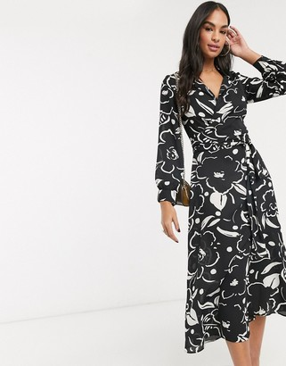 ASOS DESIGN wrap front midi dress in abstract floral print