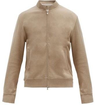 Brunello Cucinelli Ribbed-edge Cotton-blend Track Jacket - Beige