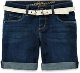 Arizona Crochet Belt Cuffed Denim Shorts - Girls 7-16, Slim and Plus