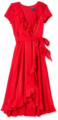 Gabby Skye Women's Short Sleeve Solid Satin Ruffled Dress