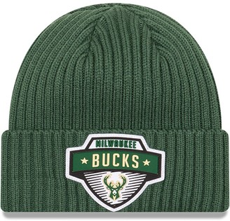New Era Men's Hunter Green Milwaukee Bucks 2020 Tip-Off Cuffed Knit Hat