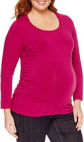 Asstd National Brand Long Sleeve Scoop Neck T-Shirt-Womens Plus Maternity