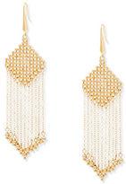 Steve Madden Dangling Diamond Design Fringed Chandelier Earrings
