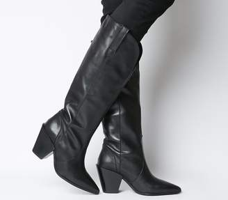 Office Kash Western Knee Boots Black Leather