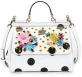 Dolce & Gabbana Sicily Medium Dot-Print Satchel Bag, White/Black