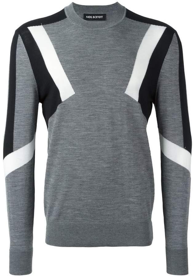 Neil Barrett geometric intarsia panelled jumper