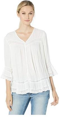 Karen Kane Lace Inset Top (Off-White) Women's Clothing