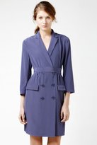 Lacoste 3/4 Sleeve Crepe Double Breast Trench Dress