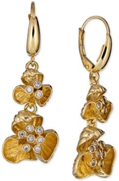 Macy's Diamond Flower Drop Earrings (1/4 ct. t.w.) in 18k Gold-Plated Sterling Silver