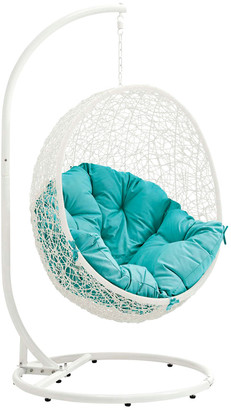 Modway Outdoor Hide Outdoor Patio Wicker Rattan Swing Chair With Stand